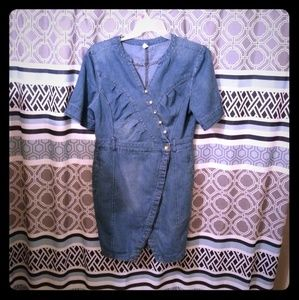 Vintage Blue Jeans Dress With Gold Buttons Size3XL
